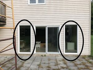 2 - matching white vinyl windows, 35 x 79. Used. $150 each.