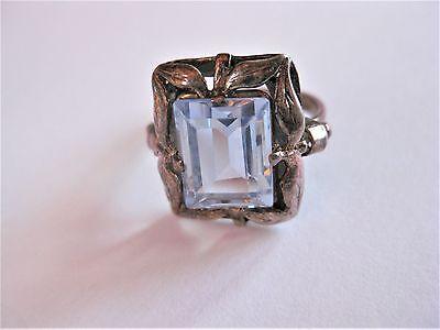 Jugendstil Ring Silber 935 mit Blautopas
