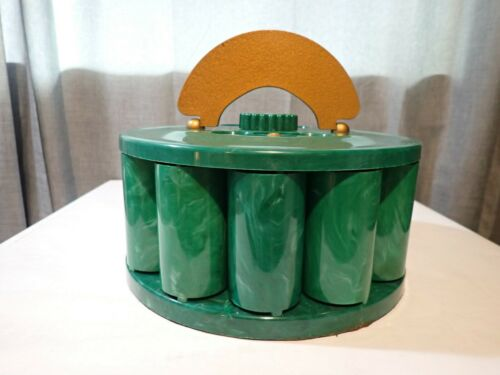Vintage Green Marbled Bakelite Turnit Poker Chip Card Holder