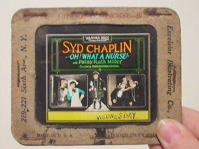 Oh What A Nurse  - Original 1926 Movie Glass Slide-  Patsy Ruth Miller - Chaplin