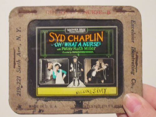 Oh What A Nurse  - Original 1926 Movie Glass Slide-  Patsy Ruth Miller - Chaplin
