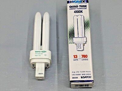 Satco Compact - Satco Quad Tube 4100K CFD13W/841/ENV Compact Fluorescent 13 watt 2Pin GX23-2