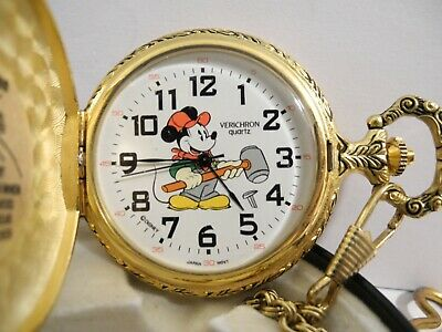 DISNEY MICKEY MOUSE POCKET WATCH RAILROAD WORKER DISNEY TIN RARE LOWER $$