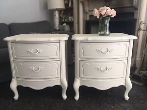 Delivery-pair of antique French nightstands refinished