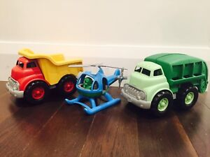 'Green Toys' Set of Three: Dump Truck, Recycling Truck & Heli