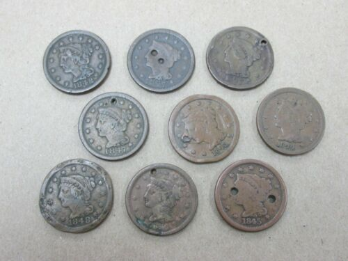 9 Coins Various Dates Cull Large Cents 1843-1848 Q2GT