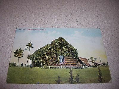 1911 Old Land Mark Cabin Near Fremont Michigan Mi  Antique Postcard