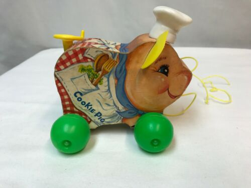 Vintage Fisher Price Wooden Pull Toy Cookie Pig 476