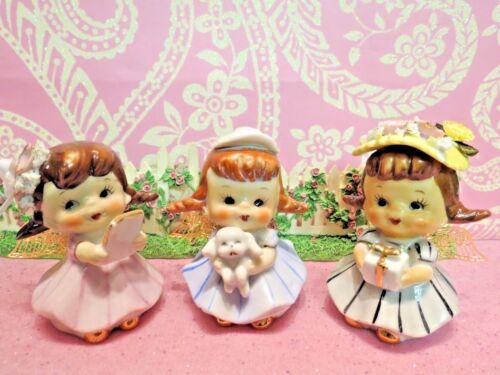Vtg Set of 3 Shopper Girl Angels W Puppy Dog ~ Gift ~ Book Upcycled for Charity