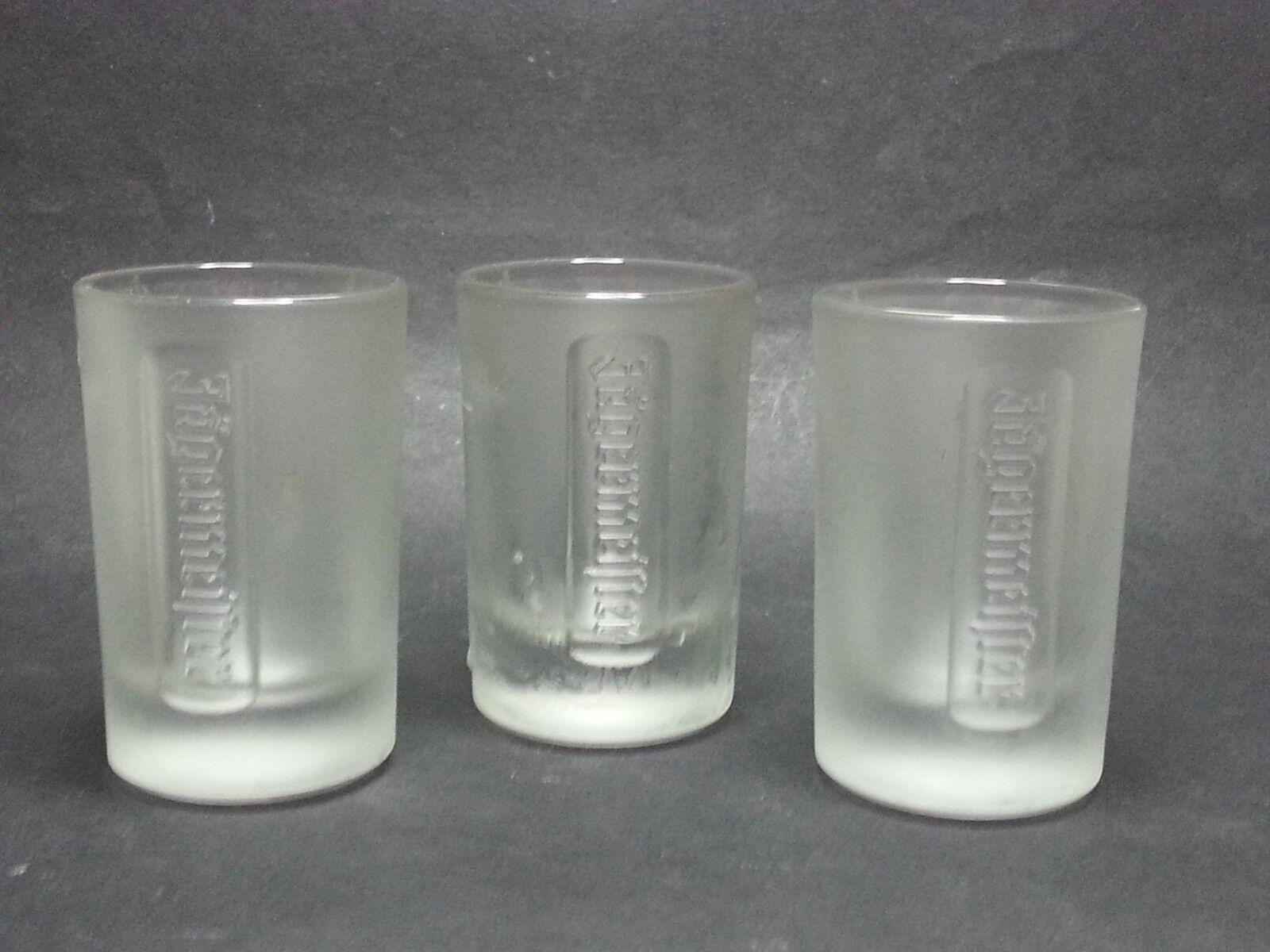 SET TOTAL 3 Frosted Jagermeister Jager Shot Glasses Germany