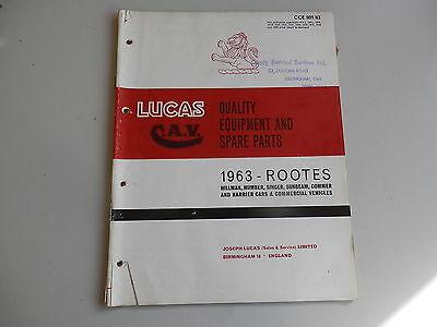 LUCAS Parts List 1963 HILLMAN HUMBER SINGER SUNBEAM COMMER KARRIER + supplement