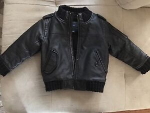 Toddler leather bomber