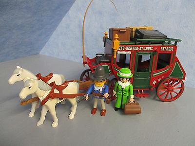 2 spännige Western Postkutsche Pferde Figuren Gepäck Playmobil 9870