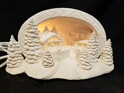 Hershey Mold-Christmas Winter Nativity Scene-LIGHT-Ready to Paint Ceramic Bisque