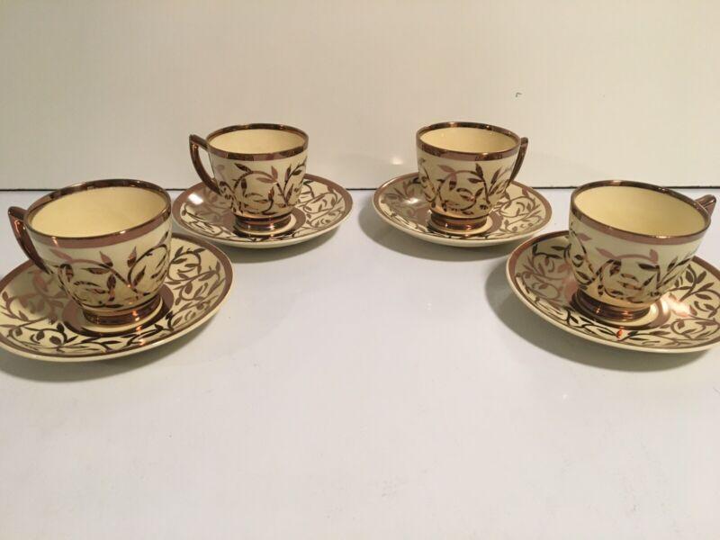 Myott Son & Co Hand Painted Old Lustreware Tea Set Teacup Saucer Copper Set Of 4