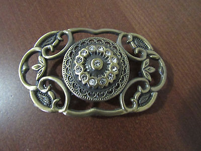 VINTAGE BRONZE CRYSTAL FLOWERS BUCKLE