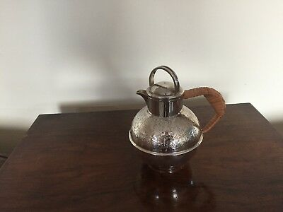 LOVELY SILVER PLATED JERSEY JUG WITH A WICKER WRAP AROUND HANDLE (JJ 42P)