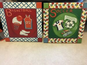Kid Sports bedroom Decor Curtains, quilt, pictures.