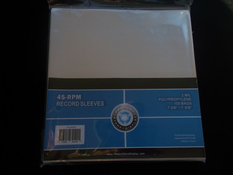 """100 CLEAR PLASTIC 7"""" (45 RPM) VINYL RECORD ALBUM SLEEVES BAGS OUTERSLEEVES"""