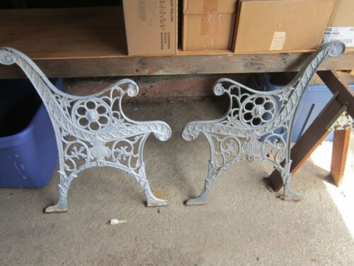 Antique Cast Iron Park Bench Ends With Spooky Face