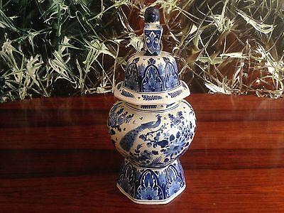 APK DELFT - Antike Deckelvase 35,5cm - handbemalt in Delfter Blau