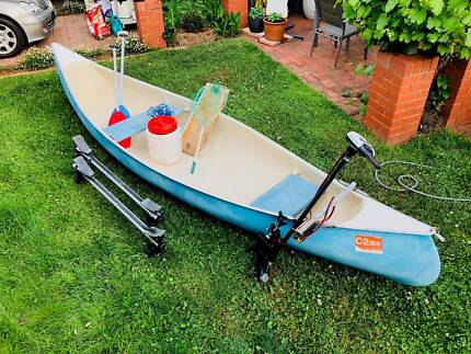 Canadian canoe and Riptide saltwater electric outboard motor
