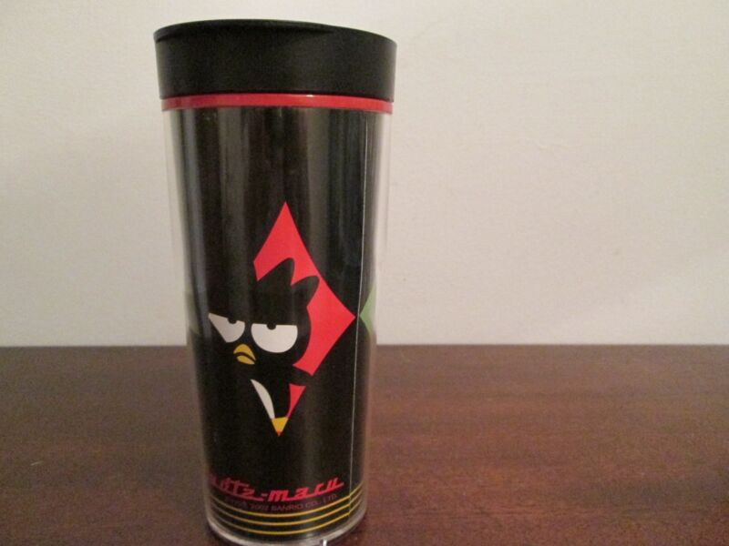 2002 Sanrio BADTZ MARU Tumbler Coffee Travel Mug Plastic Cup