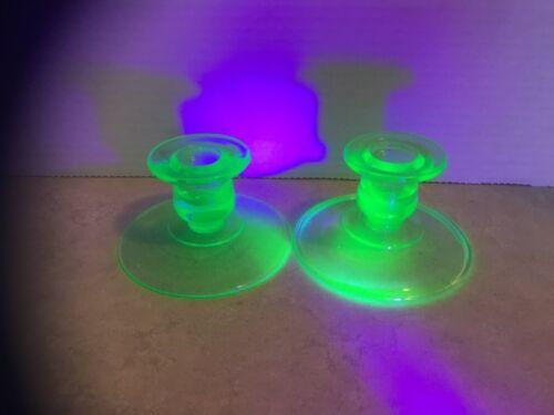 Vintage Pair of Green Uranium Vaseline Glass Candlestick Holders