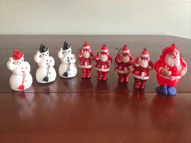 Lot Of 8 Vintage Hard Plastic Rosbro SANTA SNOWMAN Christmas Ornaments 1950's