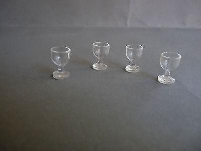 4 Stück Gläser Weingläser Puppenstube  1:12