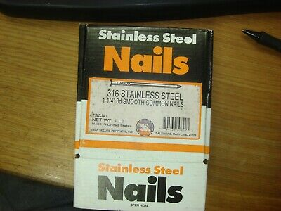 Stainless Steel 1-14 3d 316ss Smooth Common Nails 1lb