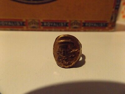 1940s Jewelry Styles and History Vintage 1940's Buster Brown & Tige Advertising Adjustable Golden Metal Ring $9.99 AT vintagedancer.com