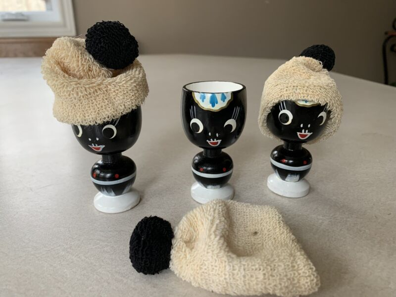 3 Vintage Hand Painted Egg Cups Wooden With Knit Caps