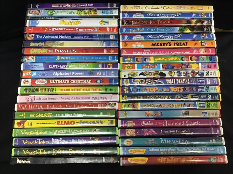 Lot of 41 Kids DVD Videos / Movies / Cartoons / Animation / Shows