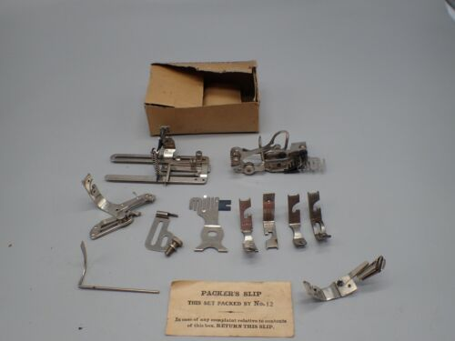 Antique Wheeler & Wilson 9W Sewing Machine Attachments w/ Box & Packing Slip