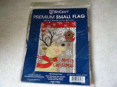 "1 WinCraft Merry Christmas Reindeer Small Garden Flag 12.5"" x 18"" Winter Holiday"