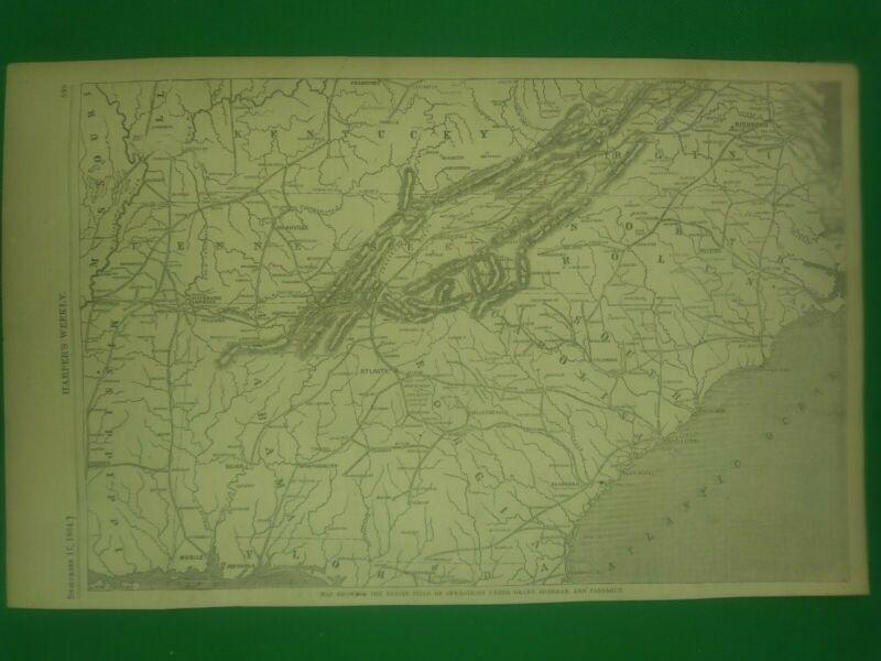 Civil War Ma1864 Field of Operations under Grant, Sherman, and Farragut