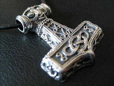Thor s Hammer 925'er Silber + Echtlederband Anhänger Wikinger  / KA 099