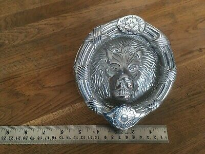 BEAUTIFUL VINTAGE CHROMED  LION HEAD DOOR KNOCKER SALVAGE