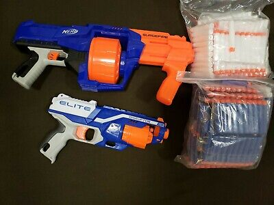 LOT of 2 NERF GUNS/ SLINGFIRE/ ELITE DISRUPTOR AND BULLETS Used