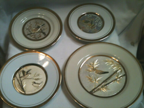 4 CHOKIN KEITO-JAPAN ETCHED COPPER GOLD SILVER PLATES