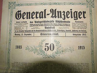 50 Jahre Generalanzeiger 1865 -1915 Zeitung Jubiläum Behörden Sammler alt selten