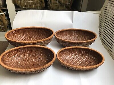 Vintage Set of 4 NESTING Oval Baskets Tightly Woven 8.5