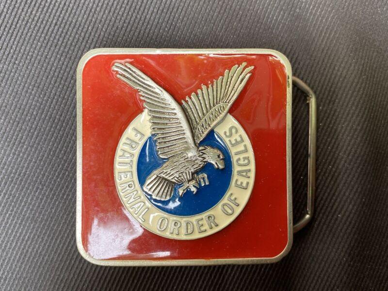 vtg fraternal order of eagles belt buckle
