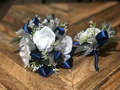 Navy Blue And White Wedding (White Navy Blue Corsage and boutonniere set Prom Wedding Formal)