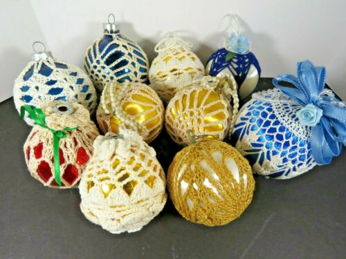 10 Vintage Crochet Covered Blown Glass & Satin Round Christmas Ball Lot A6499