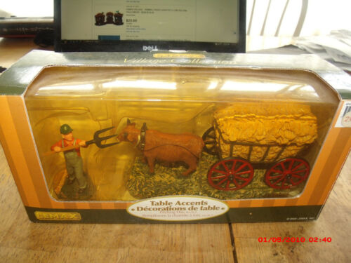 2005 LEMAX  PITCHING HAY TABLE DECOR.UNOPENED IN BOX.MT