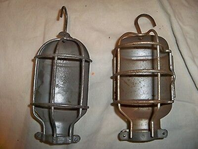 Lot of 2 Vintage STEAMPUNK, Trouble Light Industrial Wire Cage Cover