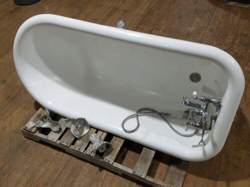 Vintage 5 ft Clawfoot Cast Iron Bath Tub Enamel Handheld Shower Head CAN SHIP