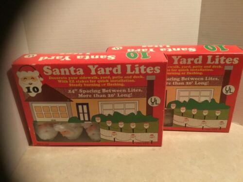 (2) Vintage Boxes of 10~Christmas Blow Mold Santa Yard Lites Outdoor Decor